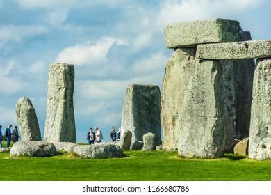 Stonehenge. Detail view of ancient prehistoric stone monument near Salisbury, Wiltshire, England, UK.