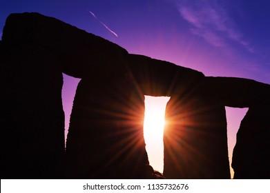 Stonehenge during the Autumn Equinox Sunrise - Amesbury, Wiltshire, United Kingdom - September 21, 2015