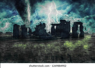 Stonehenge during the heavy storm, rain and lighting in England, creative picture