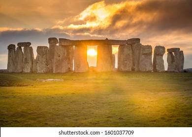 Stonehenge during sunset winter solstice