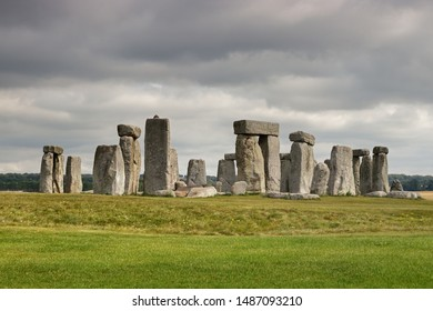 Stonehenge in England against a cloudy sky.
