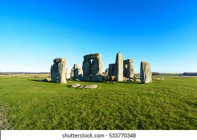 Stonehenge England.The mysterious and ancient Unesco World Heritage Site at Salisbury Plain, UK, England. Massive standing megalith stones