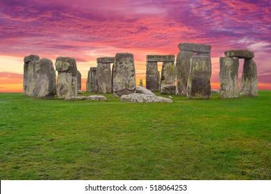 Stonehenge England Sunset Sky