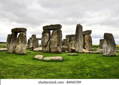 Stonehenge in gloomy summer day. UK