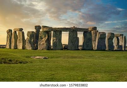 Stonehenge large panorama at sunset, United Kingdom