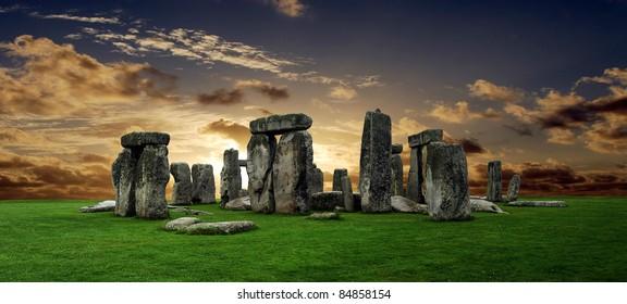 Stonehenge large panorama at sunset, United Kingdom (without tourists)