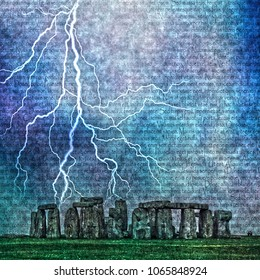 Stonehenge. Lightning and latin text.3D rendering