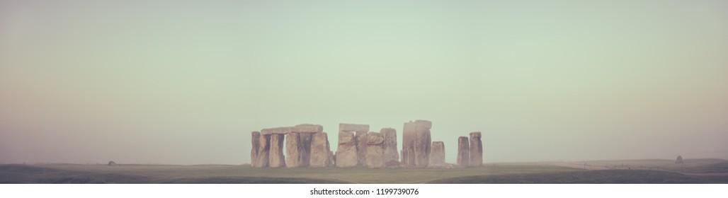 Stonehenge with morning mist | England