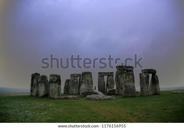 Stonehenge on a cold British Morning