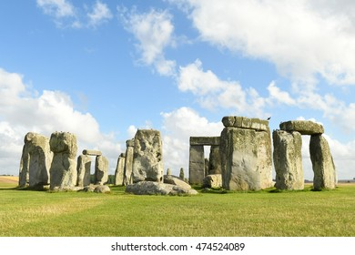 Stonehenge on a sunny day in England with clouds