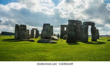 Stonehenge. Panoramic view of ancient prehistoric stone monument near Salisbury, Wiltshire, UK. in England.