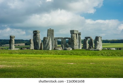 Stonehenge. Panoramic view of ancient prehistoric stone monument near Salisbury, Wiltshire, UK. in England.
