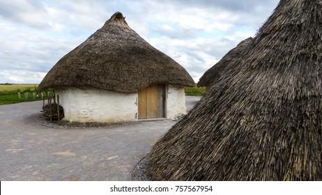 Stonehenge prehistoric monument, Stonehenge Neolithic Houses Exhibition - Stonehenge, Salisbury, England, UK