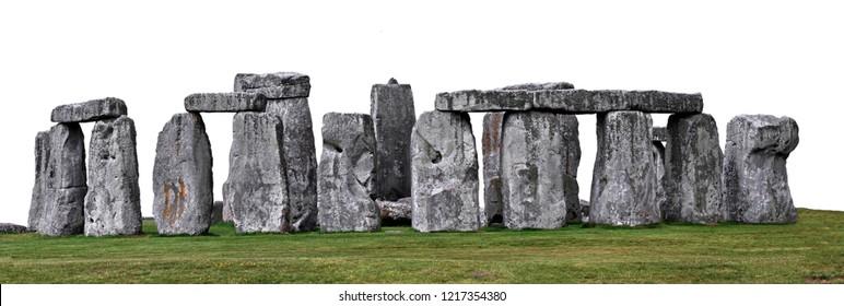 Stonehenge,  prehistoric monument in Wiltshire, England,  isolated on white background