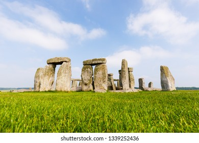 Stonehenge in summer with green grass