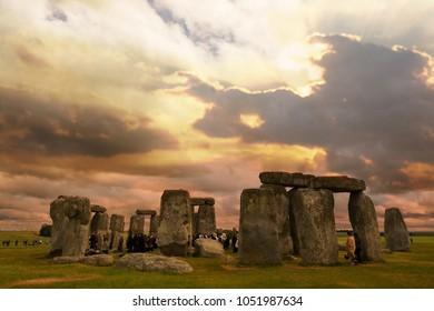 Stonehenge summer at sunset