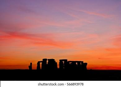 Stonehenge at sunset.
