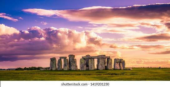 Stonehenge at sunset in United Kingdom