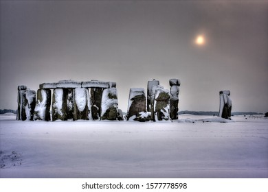 Stonehenge taken during a snow storm from the public road.