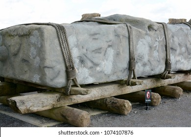 STONEHENGE, UK - SEPTEMBER 22, 2017: A photograph showing how a large sarsen stone might have been moved in the construction of stonehenge, Stonehenge, Wiltshire, UK