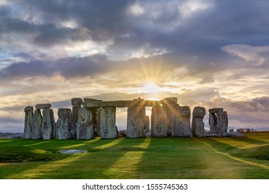 Stonehenge under a stormy sky when the sun gave us a show