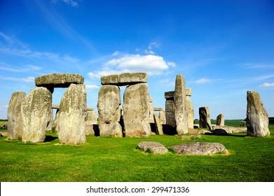 Stonehenge underneath the blue sky, England, UK