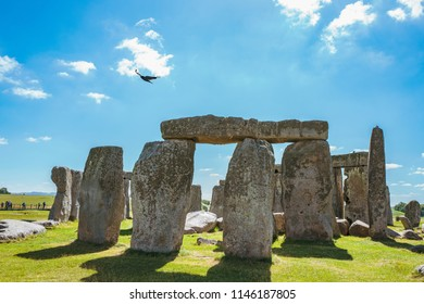 Stonehenge, Wiltshire / England - July 2 2017: View of Stonehenge on a beautiful summer day