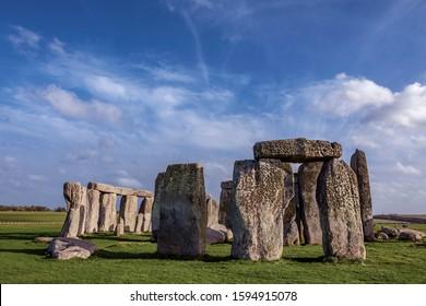Stonehenge in Wiltshire, England, October 18, 2017: Hurricane Ophelia clouds over prehistoric monument of Stonehenge, England