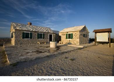 Stonemade buildings on Kamenjak in the Vrana nature park