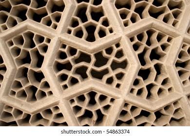 "Stonemasonry at Mausoleum of Itimad-ud-Daula (""Baby"" Taj) in Agra"