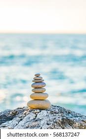 Stones balance and wellness retro spa concept inspiration beautiful landscape background zen-like