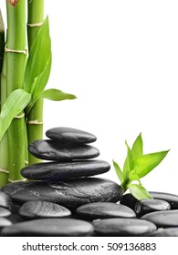 stones and bamboo on the white background