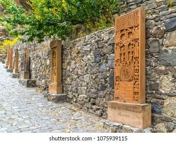 The stones carving in the Monastery of Geghard, Geghard, Armenia