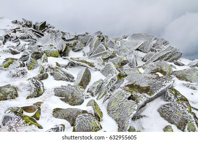 Stones covered with ice. / Iced moss-covered rocks under a thin layer of snow and ice.