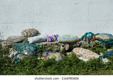 Stones covered in Knitting, Kilkee, County Clare, Ireland August 2018