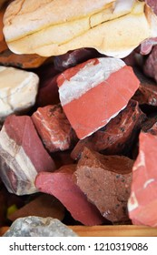 stones of different colors on the stall