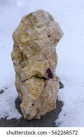 The stones in the garden. Rocks stacked on top of each other. Zen close-up