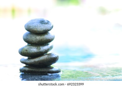 stones has set up to be a stone lines next to water, stone lines,stone use in spa,select focus