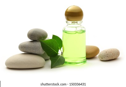 Stones, leaves and shampoo bottle