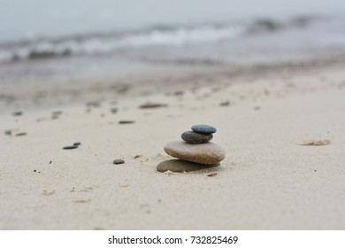 Stones on the beach. Seashore. Harmony and balance.