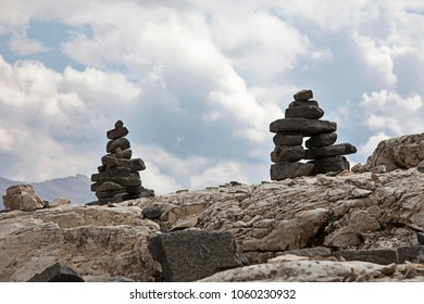 Stones on the Iceline Traill in Yoho National Park have been stacked by hikers into the forms of Inuksuk, a native American representation of people.