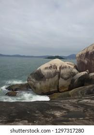 Stones on the Itapema coast, Santa Catarina, Brazil