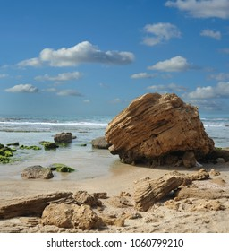 Stones on sea beach. Palmahim, Rishon Lezion, Israel