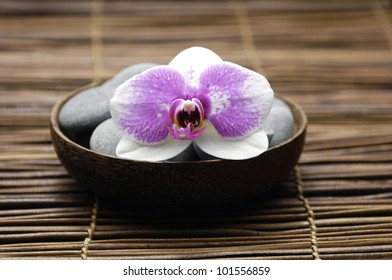 stones with orchid in wooden bowl on mat