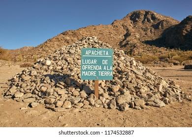 Stones Pile of Quilmes Ruin in Tucumán Province Aimacha del Valle Desert Pre Columbian Culture. Quechua American Ancient Construction Cactus and Stone Building Scene in Argentina path Salta - Cafayate