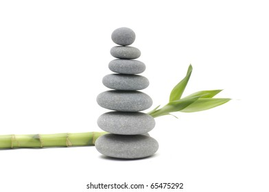 stones stack in balance and bamboo grove