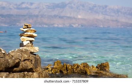 stones stacked on the beach