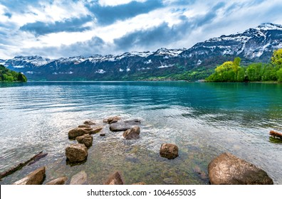 Stones in the waters of Brienz lake