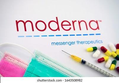 Stone/UK- Feb 11 2020: Moderna Inc makes mRNA-1273 experimental COVID-19 vaccine. Moderna medical company logo seen on the brochure with the viral masks, syringe and pills.