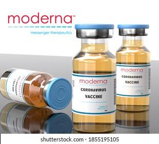 Stone/UK- November 12, 2020: Moderna Inc makes mRNA-1273 experimental COVID-19 vaccine. Vaccine jar effective in preventing 90 percent of Covid-19 Coronavirus infections
